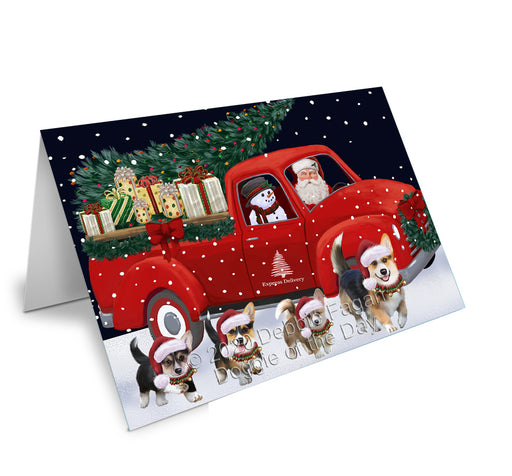 Christmas Express Delivery Red Truck Running Pembroke Welsh Corgi Dogs Greeting Card GCD75185