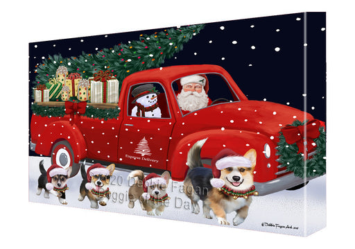 Christmas Express Delivery Red Truck Running Pembroke Welsh Corgi Dogs Canvas Print Wall Art Décor CVS146231