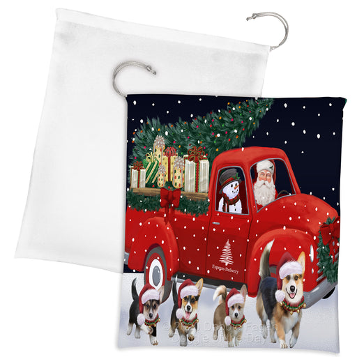 Christmas Express Delivery Red Truck Running Pembroke Welsh Corgi Dogs Drawstring Laundry or Gift Bag LGB48917