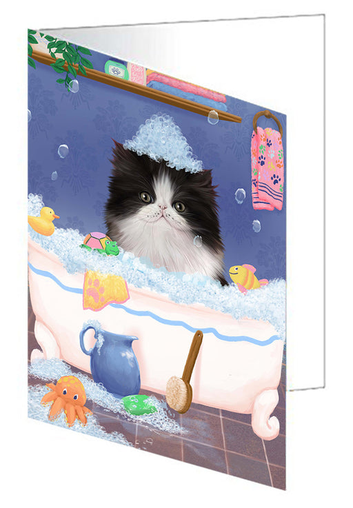 Rub A Dub Dog In A Tub Persian Cat Dog Note Card NCD79535
