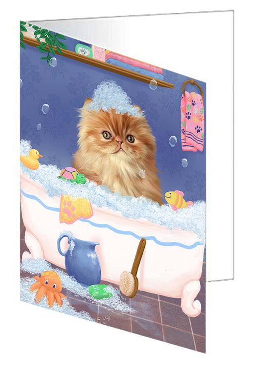 Rub A Dub Dog In A Tub Persian Cat Dog Note Card NCD79538