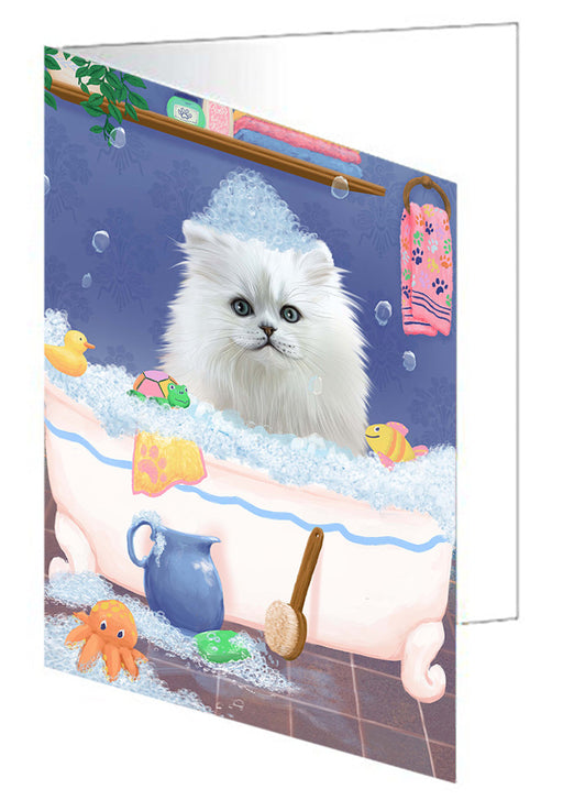 Rub A Dub Dog In A Tub Persian Cat Dog Note Card NCD79541