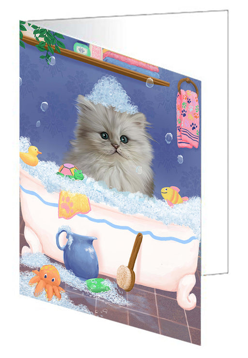 Rub A Dub Dog In A Tub Persian Cat Dog Note Card NCD79544