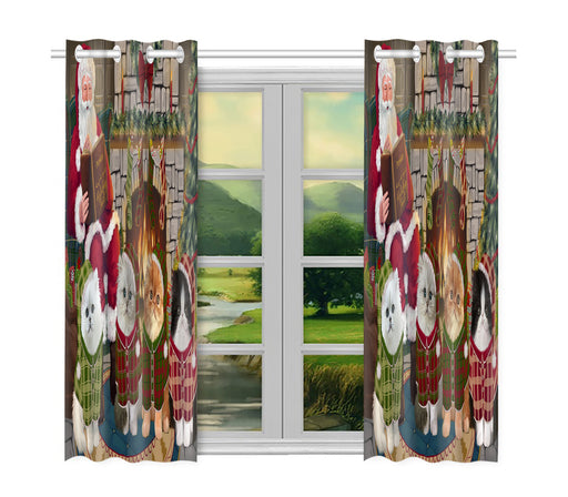 Christmas Cozy Holiday Fire Tails Persian Cats Window Curtain