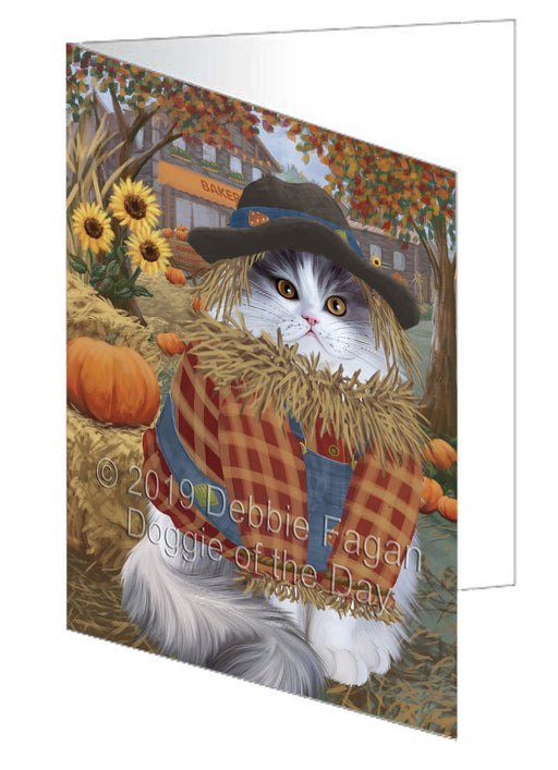Fall Pumpkin Scarecrow Persian Cat Note Card NCD78074
