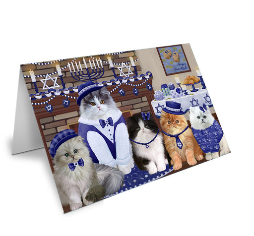 Happy Hanukkah Family Persian Cats Note Card NCD79052