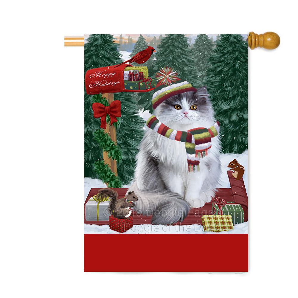 Personalized Merry Christmas Woodland Sled Persian Cat Custom House Flag FLG-DOTD-A61696