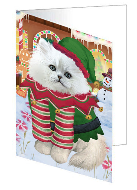 Christmas Gingerbread House Candyfest Persian Cat Note Card NCD73925