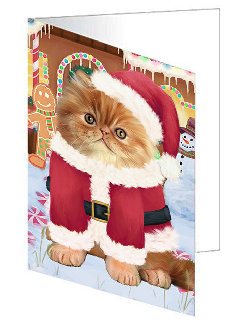 Christmas Gingerbread House Candyfest Persian Cat Note Card NCD73931