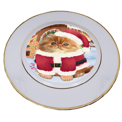 Christmas Gingerbread House Candyfest Persian Cat Porcelain Plate PLT54821