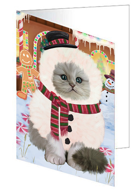 Christmas Gingerbread House Candyfest Persian Cat Note Card NCD73934