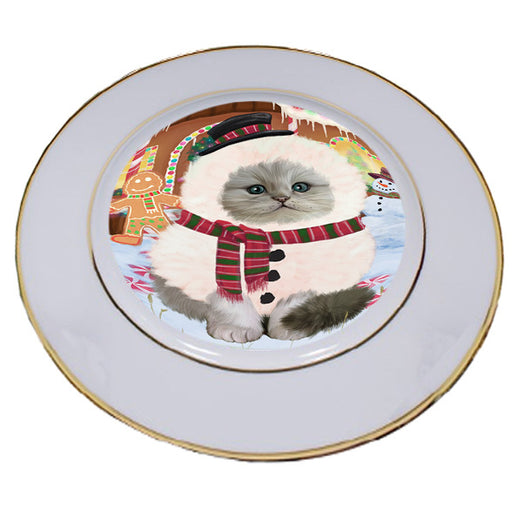 Christmas Gingerbread House Candyfest Persian Cat Porcelain Plate PLT54822