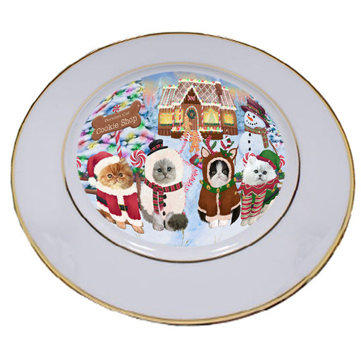 Holiday Gingerbread Cookie Shop Persian Cats Porcelain Plate PLT54857
