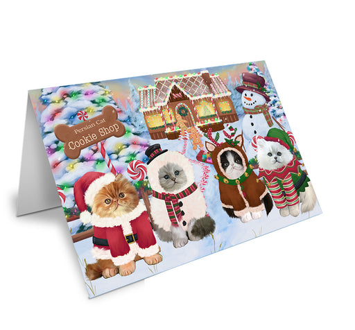 Holiday Gingerbread Cookie Shop Persian Cats Note Card NCD74039