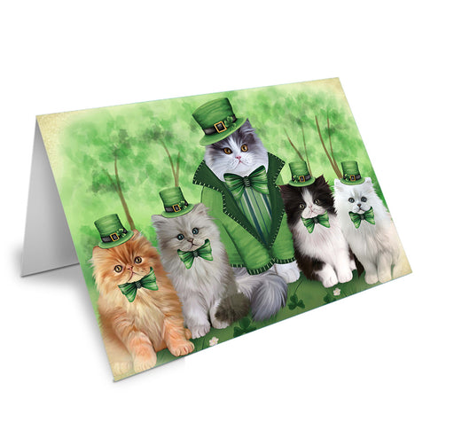 St. Patricks Day Irish Family Portrait Persian Cats Note Card NCD52037