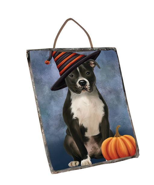 Happy Halloween Pit Bull Dog Wearing Witch Hat with Pumpkin Wall Décor Hanging Photo Slate SLTH58113
