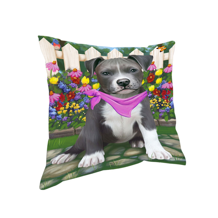 Spring Floral Pit Bull Dog Pillow PIL56884