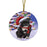 Winterland Wonderland Pit bull Dog In Christmas Holiday Scenic Background  Round Flat Christmas Ornament RFPOR53395