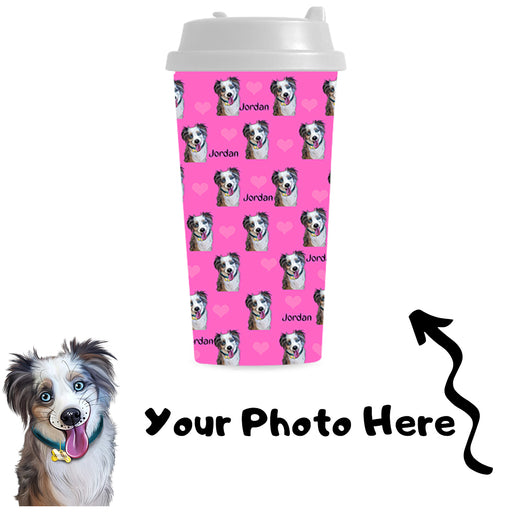 Custom Add Your Photo Here PET Dog Cat Photos on Double Wall Plastic Mug
