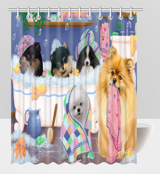 Rub A Dub Dogs In A Tub Pomeranian Dogs Shower Curtain