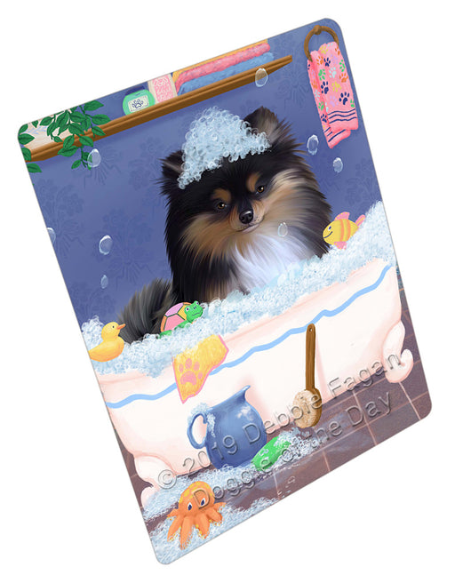 Rub A Dub Dog In A Tub Pomeranian Dog Refrigerator / Dishwasher Magnet RMAG109458