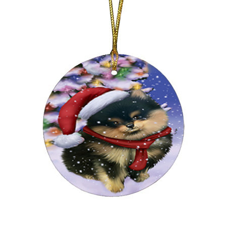Winterland Wonderland Pomeranian Dog In Christmas Holiday Scenic Background  Round Flat Christmas Ornament RFPOR53398