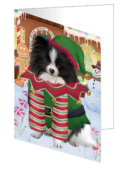 Christmas Gingerbread House Candyfest Pomeranian Dog Note Card NCD73949