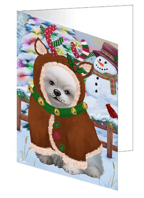 Christmas Gingerbread House Candyfest Pomeranian Dog Note Card NCD73952