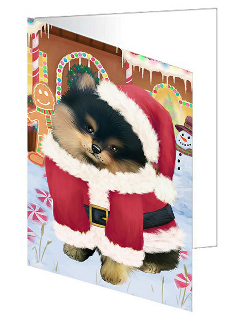 Christmas Gingerbread House Candyfest Pomeranian Dog Note Card NCD73955