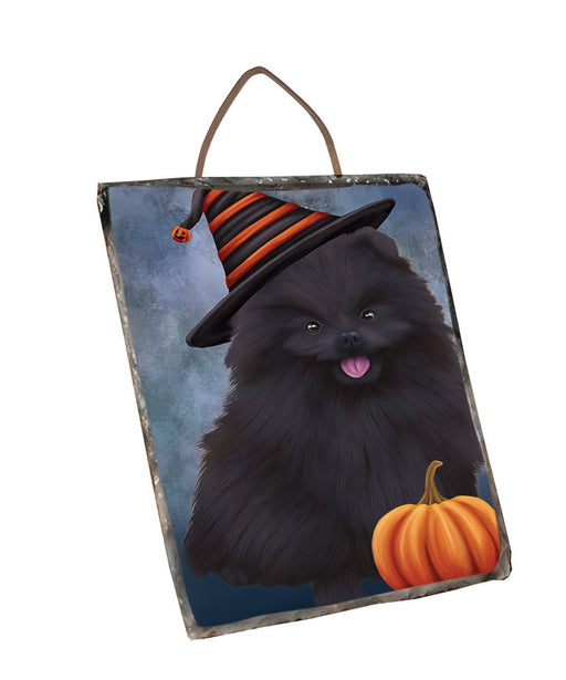 Happy Halloween Pomeranian Dog Wearing Witch Hat with Pumpkin Wall Décor Hanging Photo Slate SLTH58124