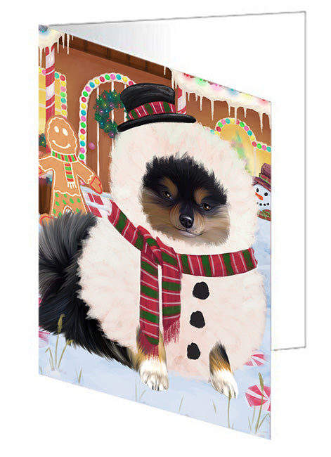 Christmas Gingerbread House Candyfest Pomeranian Dog Note Card NCD73958