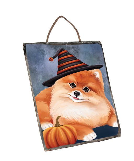 Happy Halloween Pomeranian Dog Wearing Witch Hat with Pumpkin Wall Décor Hanging Photo Slate SLTH58125