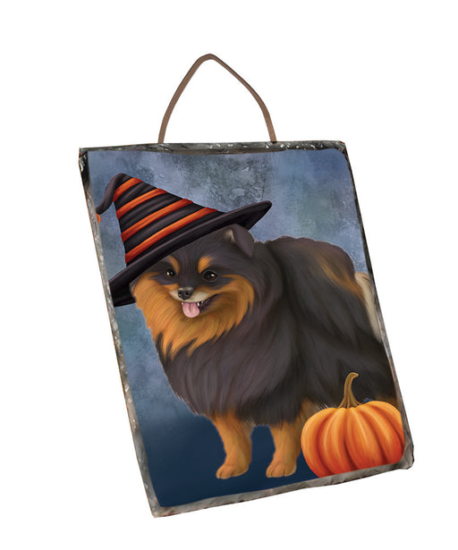 Happy Halloween Pomeranian Dog Wearing Witch Hat with Pumpkin Wall Décor Hanging Photo Slate SLTH58126