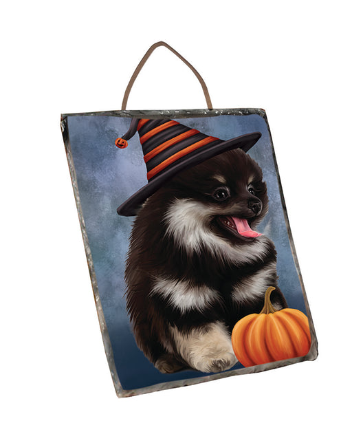 Happy Halloween Pomeranian Dog Wearing Witch Hat with Pumpkin Wall Décor Hanging Photo Slate SLTH58127