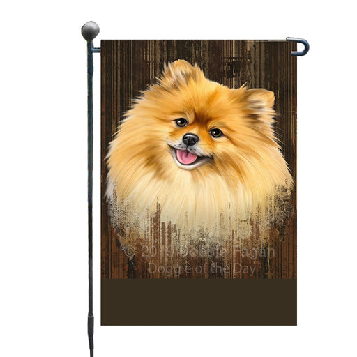 Personalized Rustic Pomeranian Dog Custom Garden Flag GFLG63588