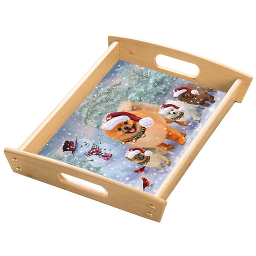 Christmas Running Family Pomeranian Dogs Wood Serving Tray with Handles Natural TRA49857