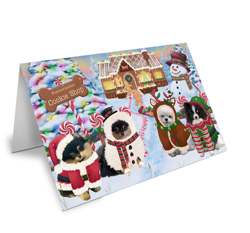 Holiday Gingerbread Cookie Shop Pomeranians Dog Note Card NCD74045
