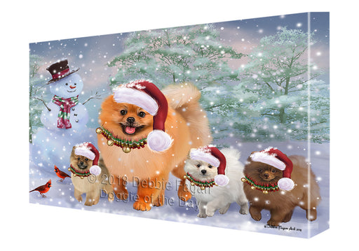 Christmas Running Family Pomeranian Dogs Canvas Print Wall Art Décor CVS136655