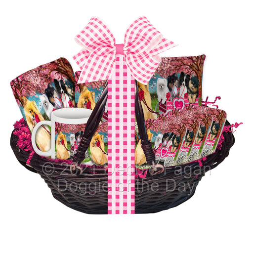 Mother's Day Gift Basket Pomeranian Dogs Blanket, Pillow, Coasters, Magnet, Coffee Mug and Ornament