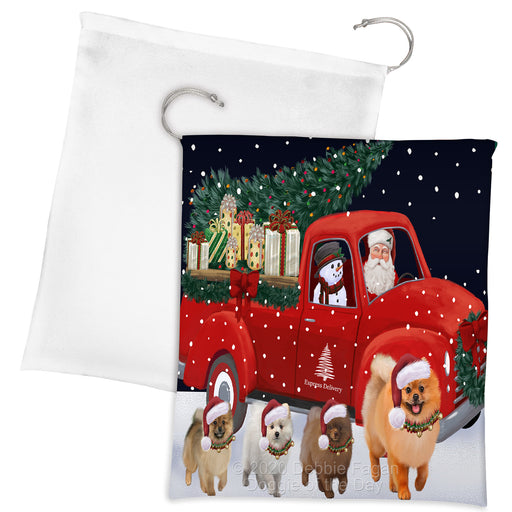 Christmas Express Delivery Red Truck Running Pomeranian Dogs Drawstring Laundry or Gift Bag LGB48920
