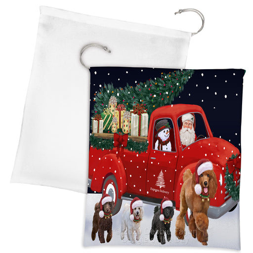 Christmas Express Delivery Red Truck Running Poodle Dogs Drawstring Laundry or Gift Bag LGB48921