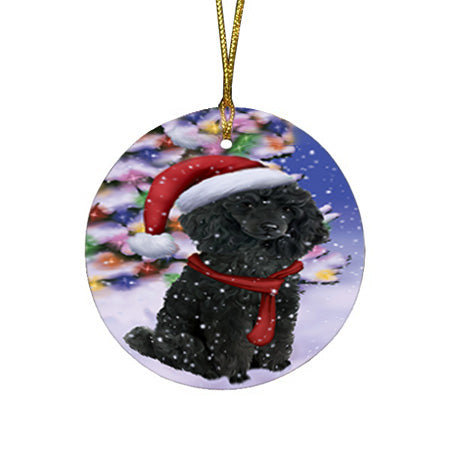 Winterland Wonderland Poodle Dog In Christmas Holiday Scenic Background  Round Flat Christmas Ornament RFPOR53403