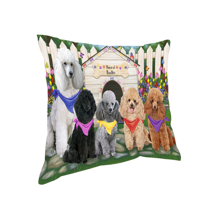 Spring Dog House Poodles Dog Pillow PIL56844