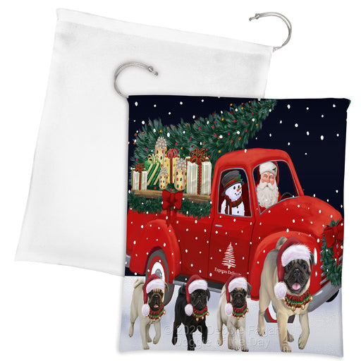 Christmas Express Delivery Red Truck Running Pug Dogs Drawstring Laundry or Gift Bag LGB48922