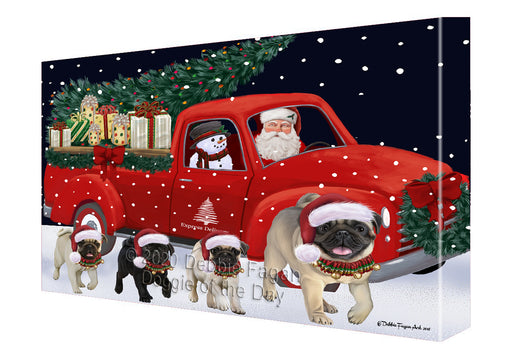 Christmas Express Delivery Red Truck Running Pug Dogs Canvas Print Wall Art Décor CVS146276