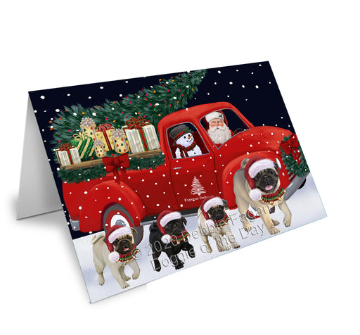 Christmas Express Delivery Red Truck Running Pug Dogs Greeting Card GCD75200