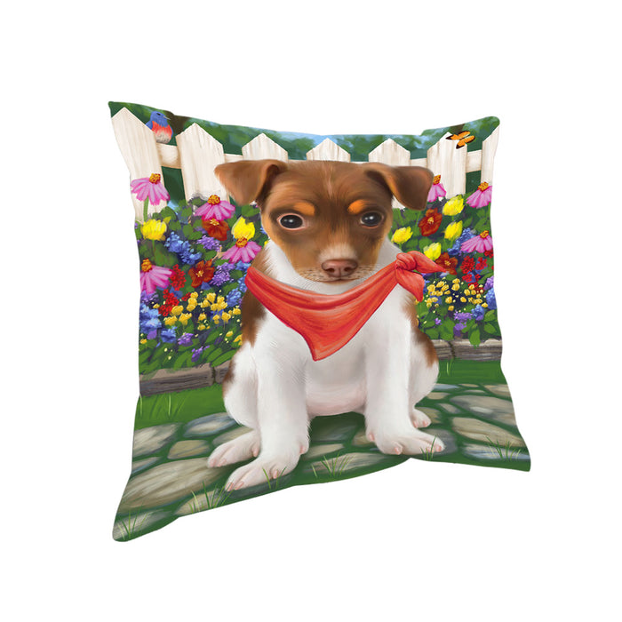 Spring Floral Rat Terrier Dog Pillow PIL56944