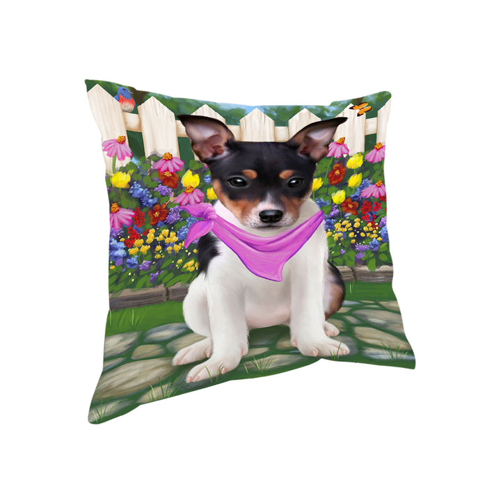 Spring Floral Rat Terrier Dog Pillow PIL56948