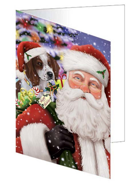 Santa Carrying Red And White Irish Setter Dog and Christmas Presents Note Card NCD71081