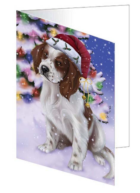 Winterland Wonderland Red And White Irish Setter Dog In Christmas Holiday Scenic Background Note Card NCD71672
